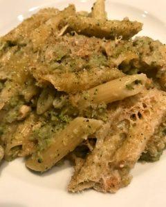 Penne gratinate con broccoli e capracotta